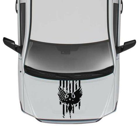 グラフィック デカール ステッカー 車体用 / トヨタ タンドラ / 4x4 アメリカンフラッグ フードステッカー