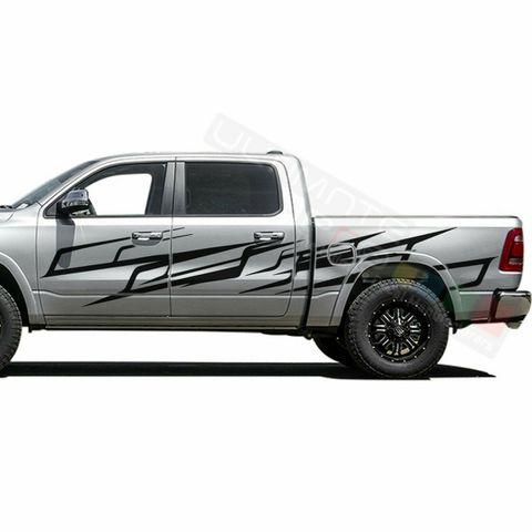 グラフィック デカール ステッカー 車体用 / ダッジ ラム クルーキャブ 1500 / スプラッシュ ブラシ ストライプステッカー