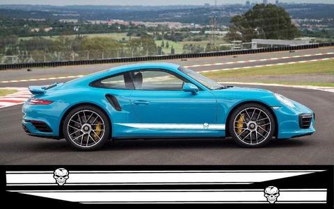 グラフィック デカール ステッカー 車体用 / ポルシェ タイカン カイエン パナメーラ 911カレラ / スカル・ステッカー
