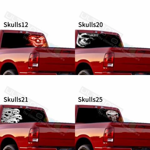 グラフィック デカール ステッカー 車体用 / ダッジ ラム / リアウィンドウ スカルデカール