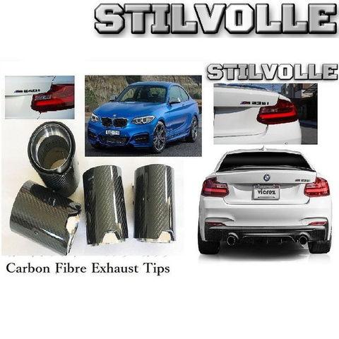 カーボンファイバー マフラーカッター ステルホル STILVOLLE BMW M235i M240i F22 F23 2014- 適合 3Kツイル織り UV保護クリアコート 左右2個セット