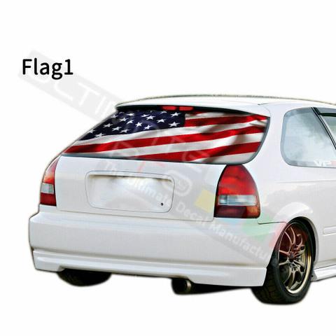 グラフィック デカール ステッカー 車体用 / ホンダ シビック 1996 / リアウィンドウ フラッグデザイン