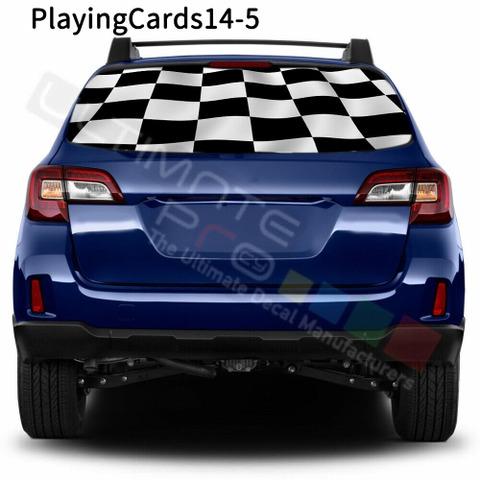 グラフィック デカール ステッカー 車体用 / スバル レガシィ アウトバック 2018 2019 / リアウィンドウ トランプステッカー