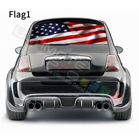 グラフィック デカール ステッカー 車体用 / フィアット 500 2020 / リアウィンドウ フラッグデザイン