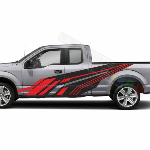 グラフィック デカール ステッカー 車体用 / フォード F-150  スーパーキャブ 2019 2020 / サイドドア ストライプステッカー