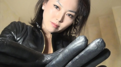 strangling in black leather(POV ショット首絞め)