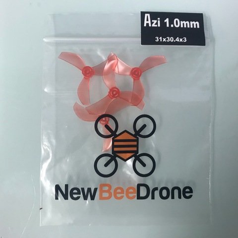 NewBeeDrone Colored Azi Micro Props -3 blade 1.0mm Shaft (Set of 4) Red