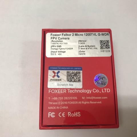 Foxeer Micro Falkor 2 1200TVL FPV Camera PAL/NTSC 16:9/4:3 GWDR No Freeze White
