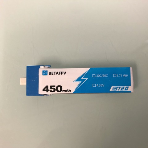 BETAFPV BT2.0 450mAh 1S 30C Battery 1個