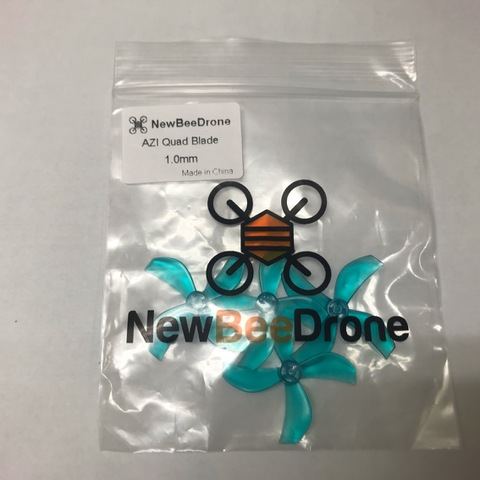 NewBeeDrone Azi Micro Props -4 blade 1.0mm Shaft (Set of 4) Teal