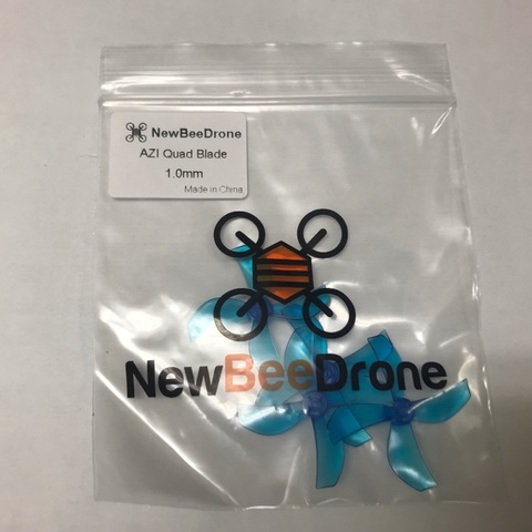 NewBeeDrone Azi Micro Props -4 blade 1.0mm Shaft (Set of 4) Blue