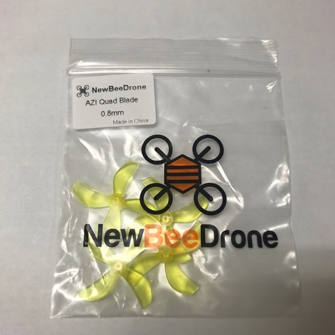 NewBeeDrone Azi Micro Props -4 blade 0.8mm Shaft (Set of 4) Yellow
