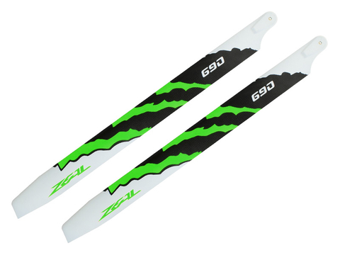 ZEAL Energy Carbon Fiber Main Blades 690mm (Green)
