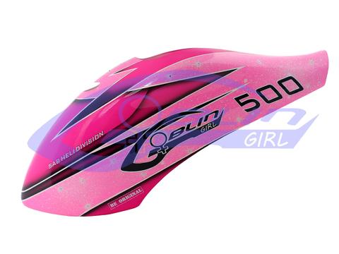 H0656-S - Glass fiber canopy Goblin Girl edition pink/sparkle -Goblin 500 Sport
