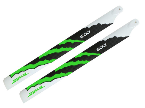 ZEAL Energy Carbon Fiber Main Blades 600mm (Green)