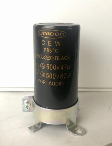 電解コンデンサー500V/47uFX2(新品)金具付1個(UNICON)