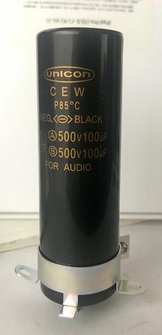 電解コンデンサー500V/100uFX2(新品)金具付1個(UNICON)