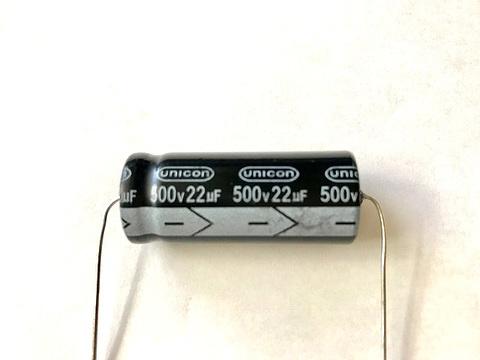 チューブラコンデンサー500V/22uF(UNICON)