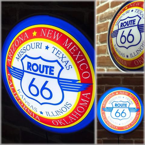アメリカン雑貨照明 ラウンドウォールランプ Route 66-2 レトロガレージ看板【ランク1】新品・未使用品