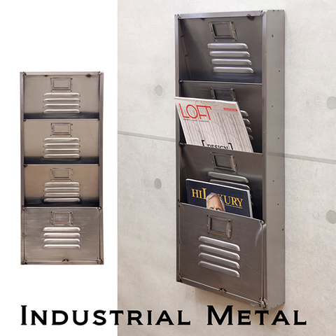 【Industrial Metal】男前インテリア インダストリアル ウォール レターラック4【ランク1】新品・未使用品