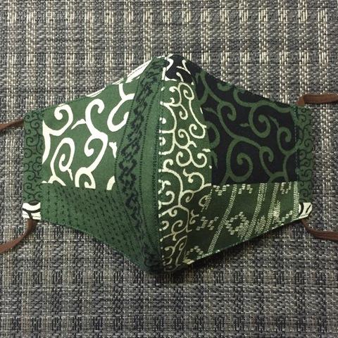 0003-M 女性サイズマスク 緑/唐草、吉原繋ぎ
