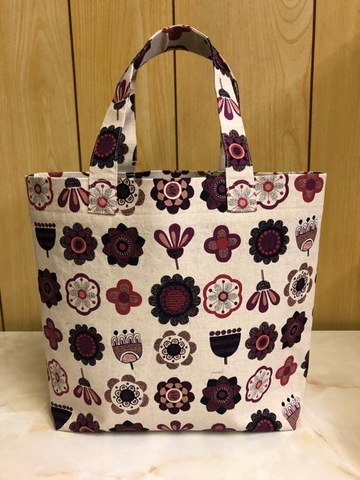 トートバッグ 赤系花柄モチーフ T1002
