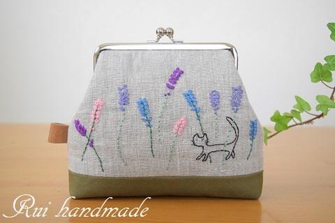 刺繍*がま口ポーチ(ラベンダーと猫)