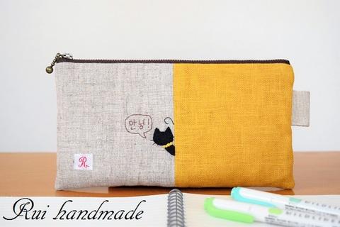 刺繍*猫ちゃんペンケース(イエロー)
