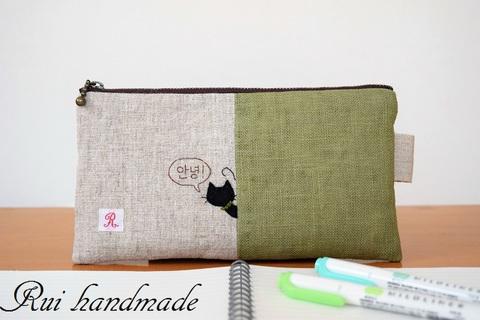 刺繍*猫ちゃんペンケース(グリーン)