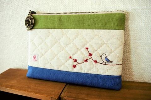刺繍deぺたんこポーチ(小鳥と花)