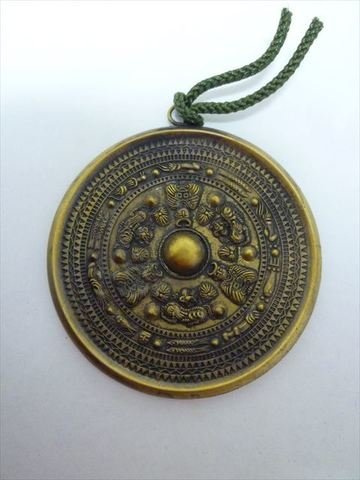 銅鏡手鏡(三角縁神獣鏡モデル)真鍮製