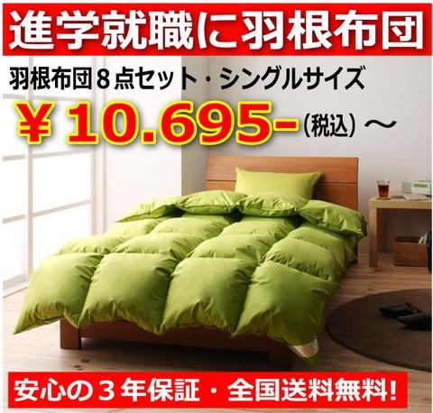 羽根布団8点セット シングルサイズ【国内送料無料】