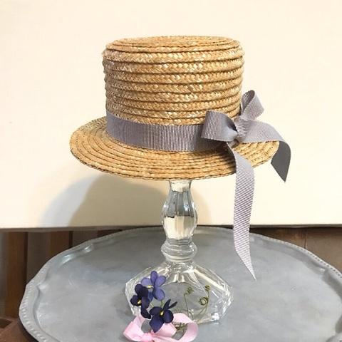 4月5月ご予約会◆ミドルカンカン帽◆グレーリボンすみれ染布花ブーケ