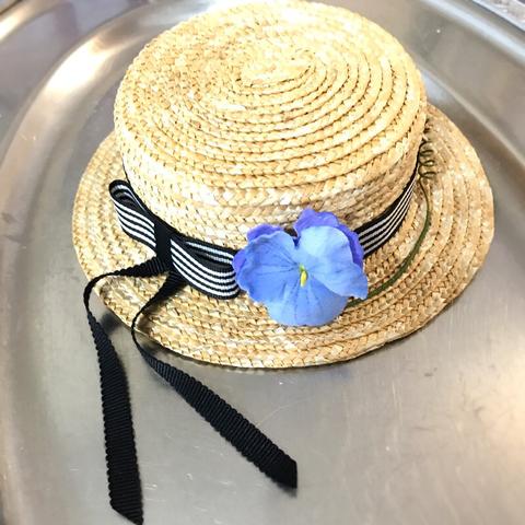 ◆完売しました◆ストライプ カンカン帽 薄紫染布花付き