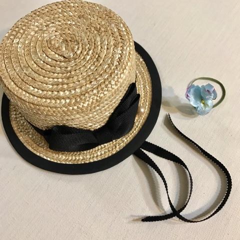 ご予約受付中◆ミドルふちありカンカン帽  青系染布花5輪のブーケノベルティ付き