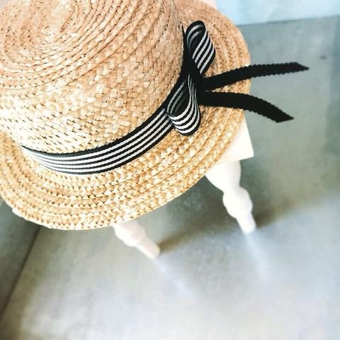 ご予約会■ストライプ カンカン帽 薄紫染布花付き