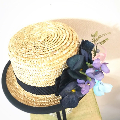 完売◆完成品◆ミドルサイズ帽ふちありカンカン帽