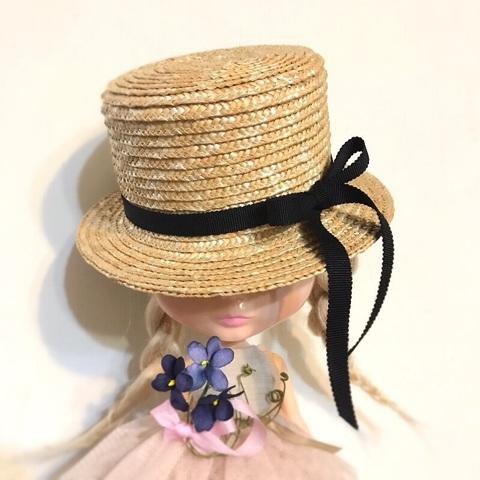 4月ご予約会◆ミドルカンカン帽◆黒リボン細 すみれ染布花ミニブーケ