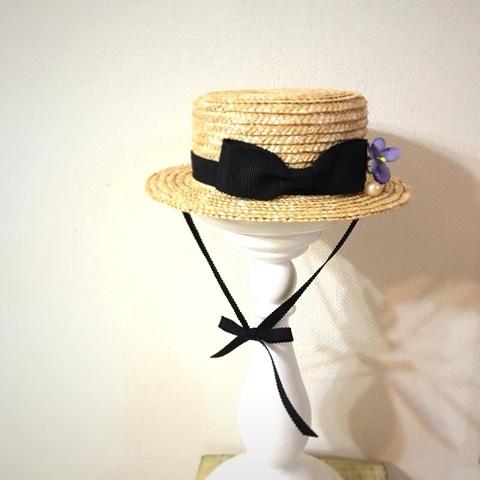 SOLD OUT◆スミレ布花◆春一番*ネオ天然色定番カンカン帽◼︎結びリボン付き