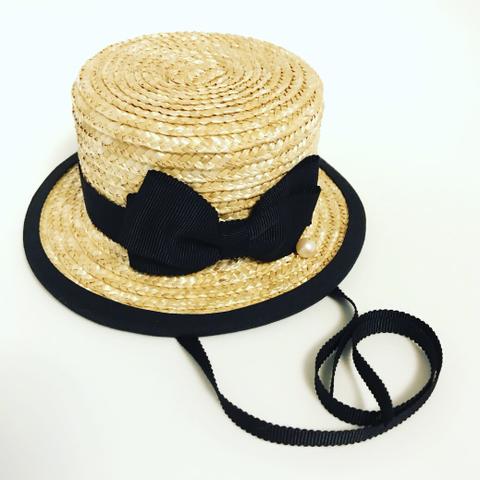 ◇ご予約品◇ミドルふちありカンカン帽  パンジー染布花1輪 3色からチョイス