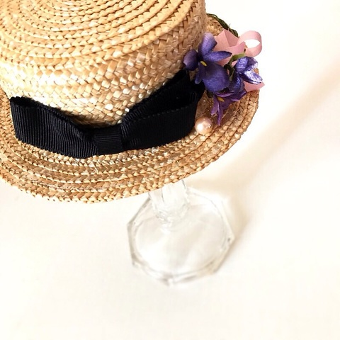 5月ご予約会■定番カンカン帽スミレ染布花ブーケ付き
