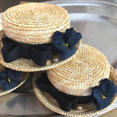 ◆完売しました◆マリン帽 布染花 黒パンジー 結びリボン付き