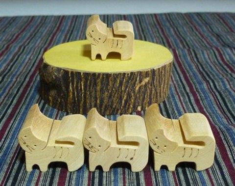 箸置きORパズル 4匹のネコ