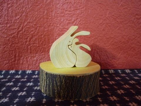寄り添いウサギ みかんの木のクラフトシリーズ