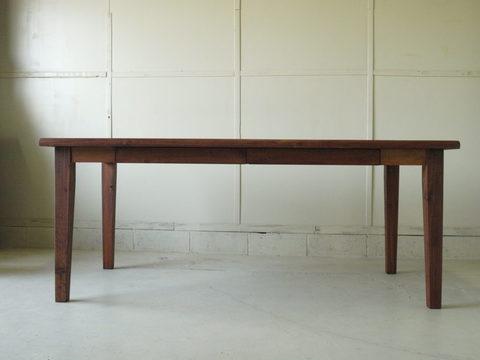 ダイニングテーブル024 180×73×80 無垢 引き出し4杯 丸太耳 脚テーパード 4~6人用