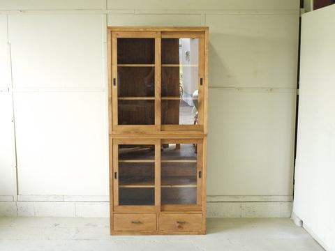 食器棚003 84×180×40 無垢 ハイタイプ ガラス扉 引き戸 真鍮取っ手