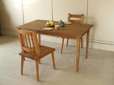 ダイニングテーブル023 130×72×80 無垢 引き出し4杯 薄い天板 脚テーパード 4人用