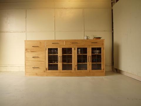 サイドボード002 200×90×45 無垢 棚移動可 食器棚 キッチンボード アイアン取っ手