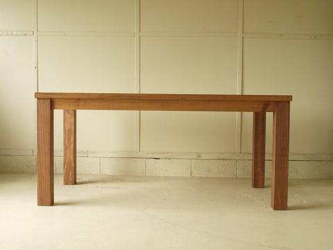 ダイニングテーブル011 150×72×80 無垢 4~6人用 太い脚 脚位置四隅