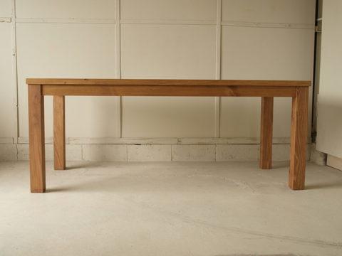 ダイニングテーブル013 160×72×80 無垢 4~6人用 薄い天板 太い脚